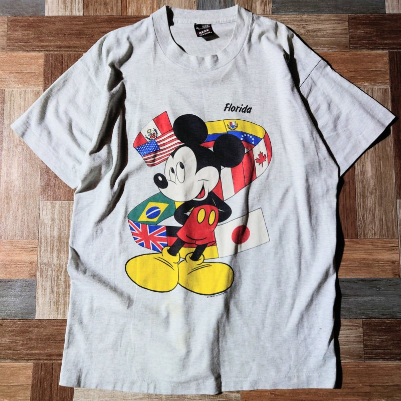 90's Vintage USA製 ミッキーマウス Tシャツ オートミール (メンズ古着)