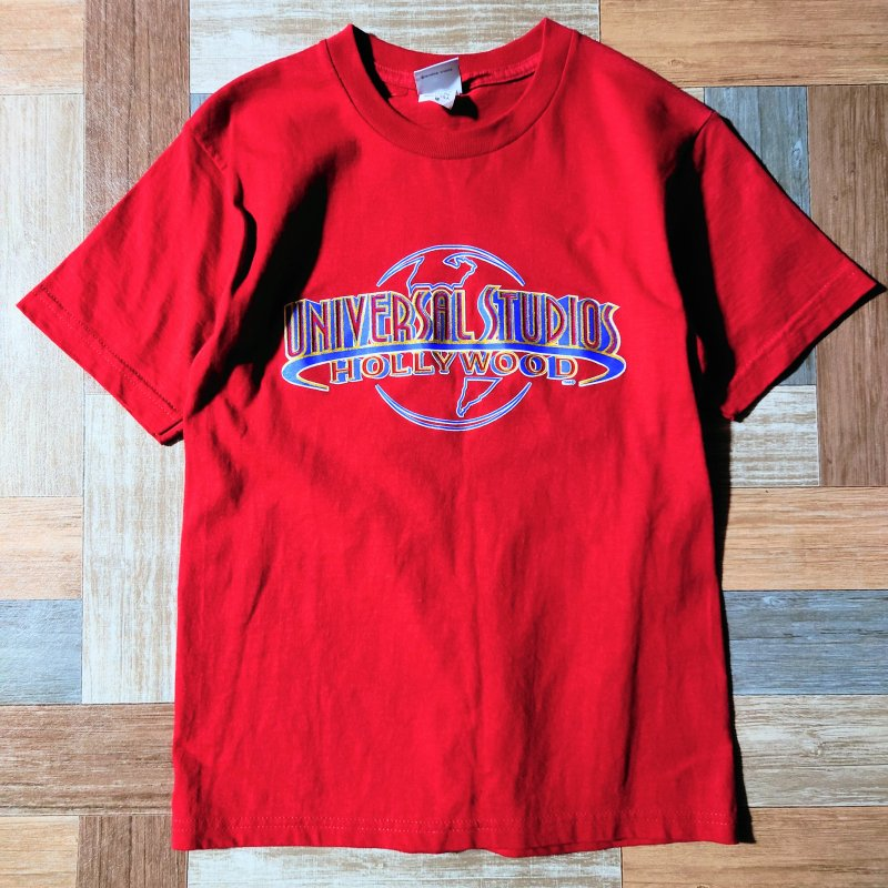 90's Vintage UNIVERSAL STUDIO HOLLY WOOD USA製 ロゴ Tシャツ レッド (レディース古着)