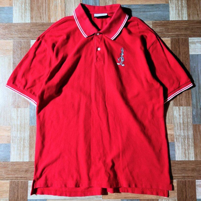 90's Vintage Warner Bros バックスバニー ポロシャツ レッド (メンズ古着)