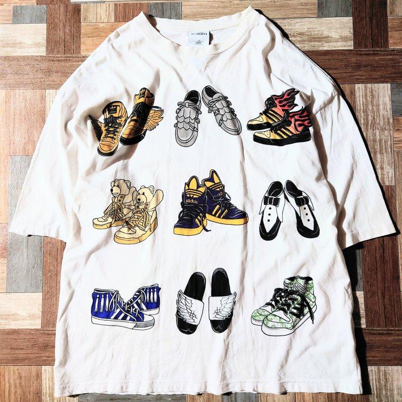 JEREMY SCOTT × adidas USA製 ビッグシルエット Tシャツ ホワイト (メンズ古着)