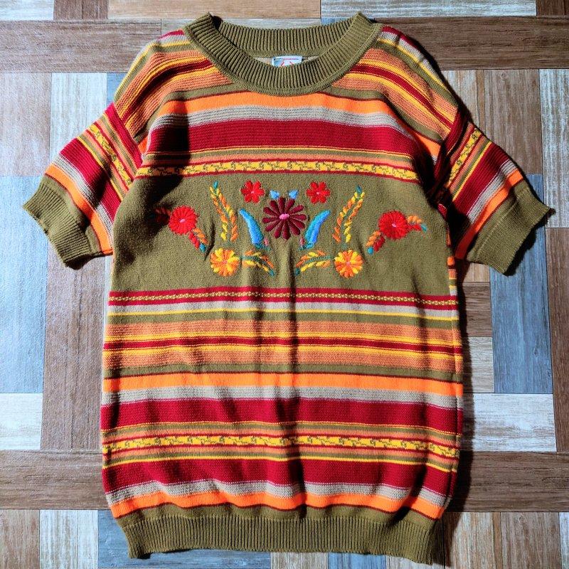 Vintage STEFANEL イタリア製 半袖 ニット セーター (レディース古着)