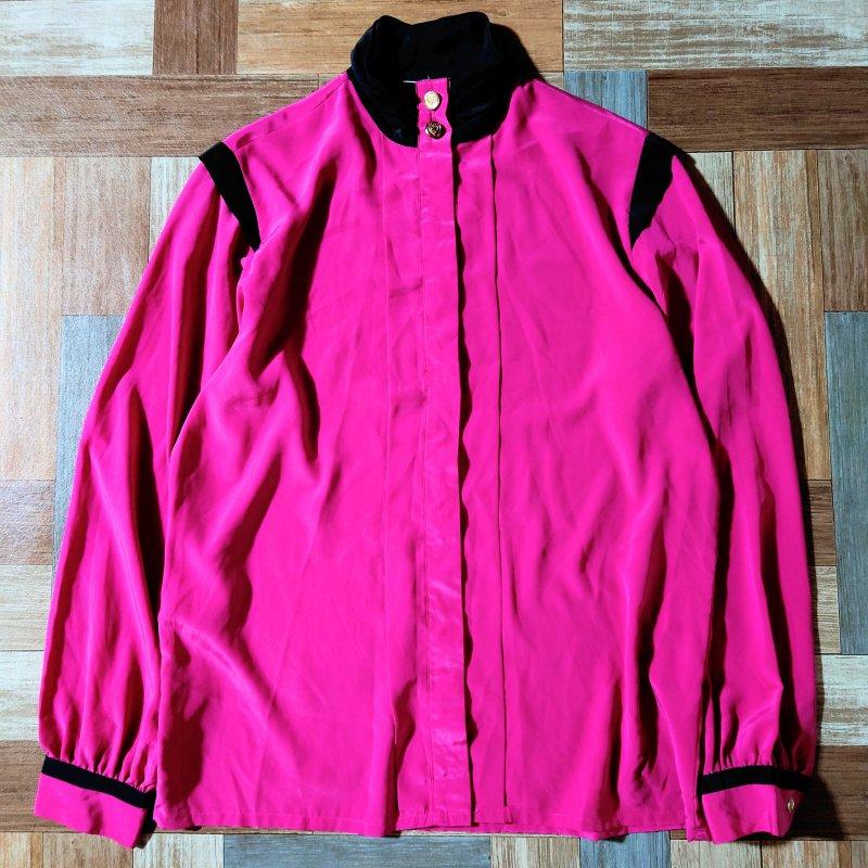 Vintage スタンドカラー ブラウス ピンク×ブラック (レディース古着)