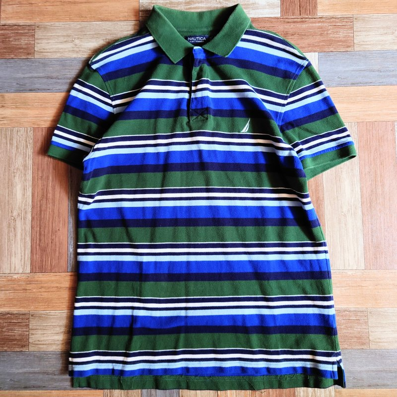 NAUTICA ボーダー ポロシャツ (メンズ古着)