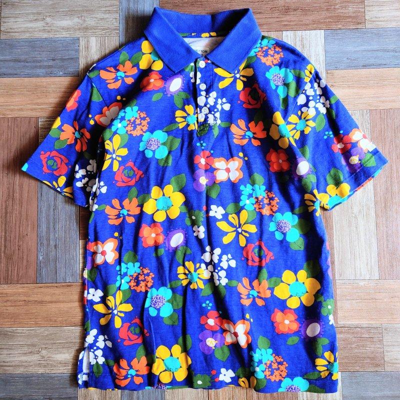 90's Vintage BENETTON GOLF フラワー ポロシャツ ブルー (レディース古着)