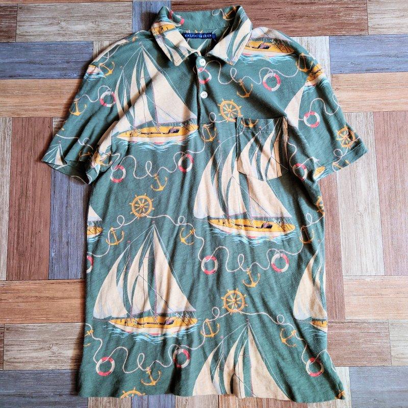 RALPH LAUREN 総柄 ポロシャツ  (レディース古着)