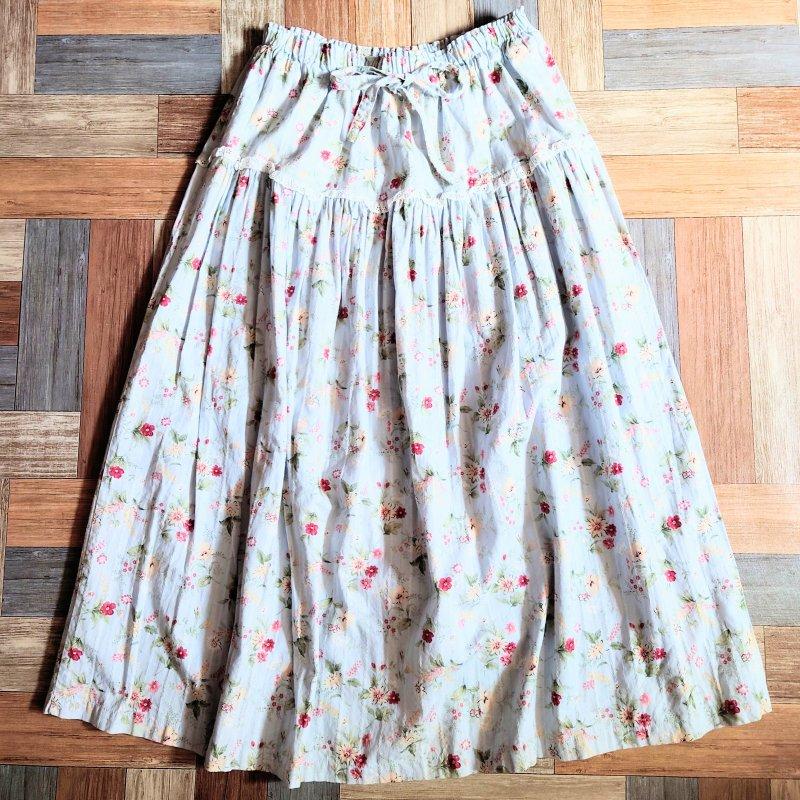 Vintage 小花柄 ロング イージー スカート ライトブルー (レディース古着)