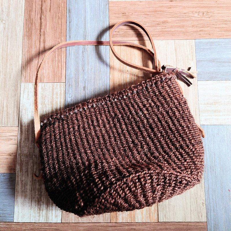 かご編み ショルダーバッグ ブラウン (USED&VINTAGE)