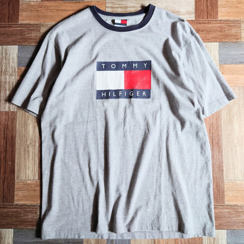 90's Vintage TOMMY HILFIGER リンガー ロゴ Tシャツ (メンズ古着)