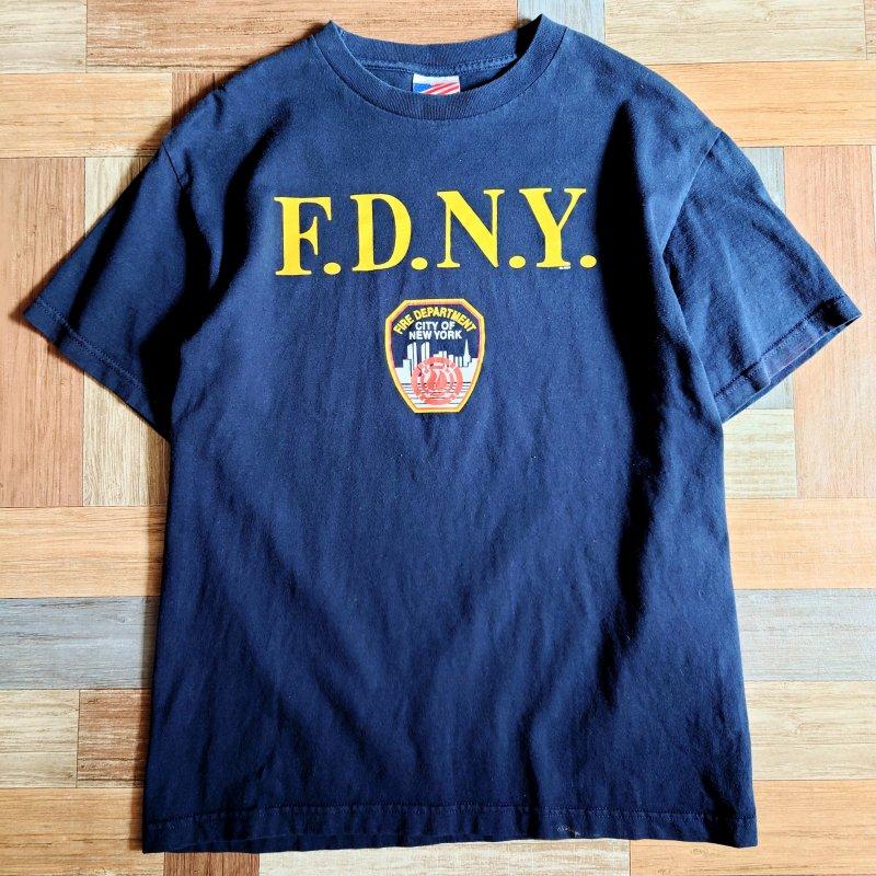 90's USA製 FDNY Tシャツ ネイビー (メンズ古着)