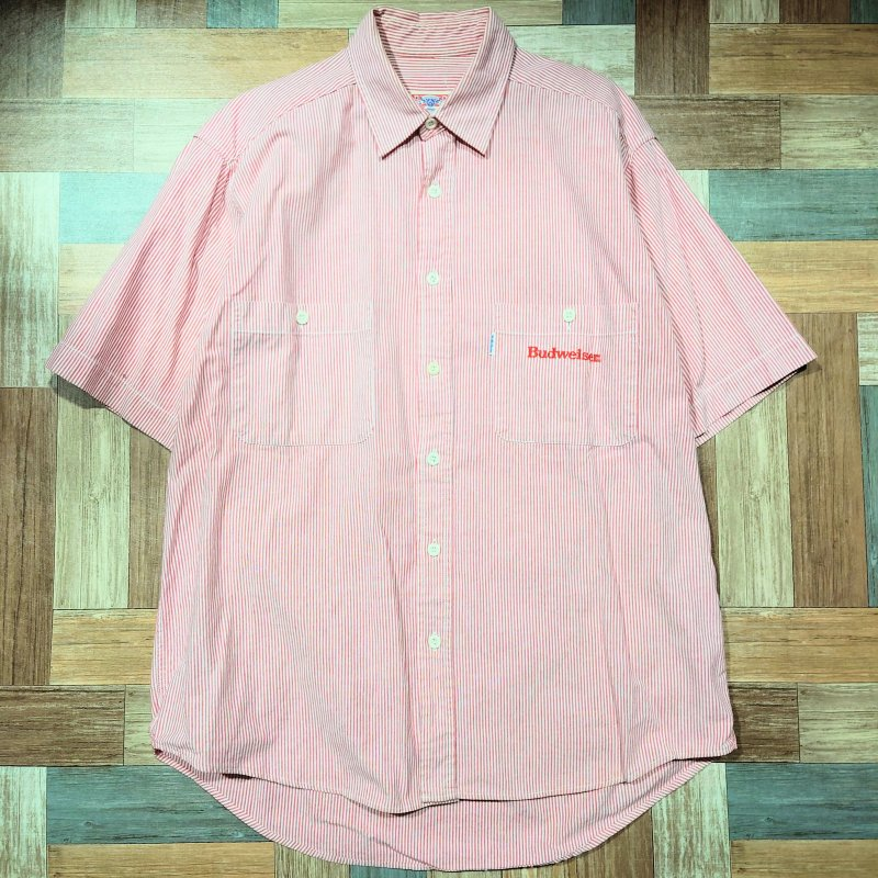 90's Budweiser ストライプ 半袖 ワーク シャツ (メンズ古着)