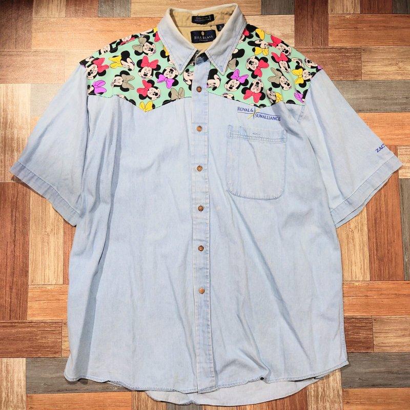90's BILL BLASS デニム リメイク 半袖 シャツ (メンズ古着)