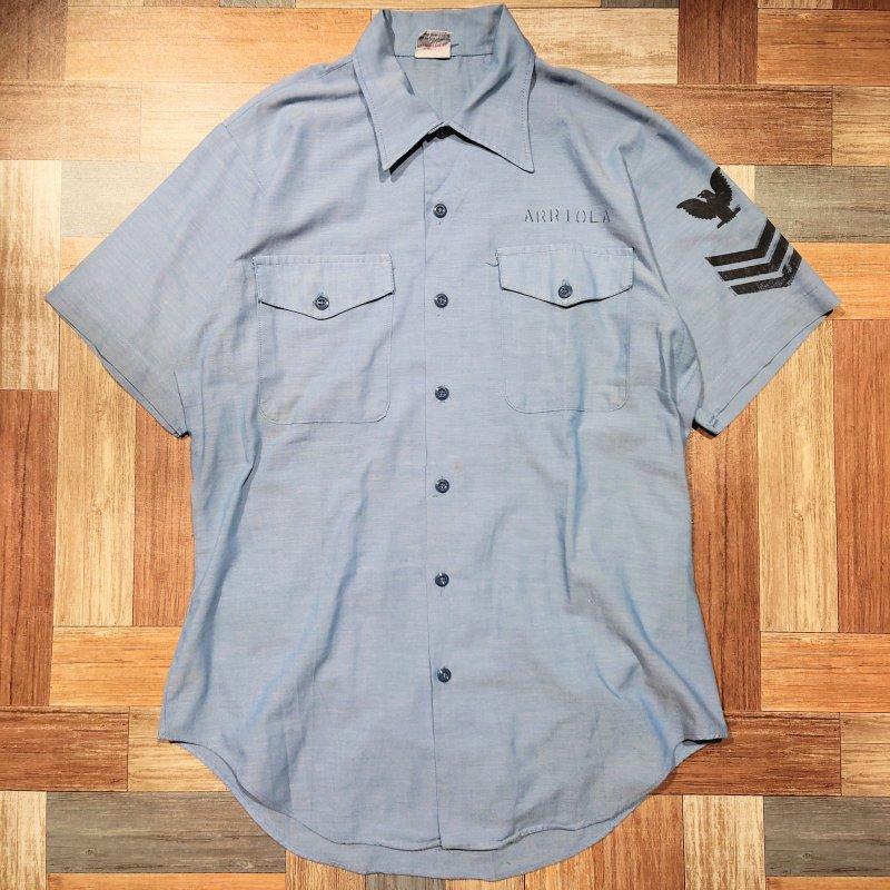 80's seafarer シャンブレー 半袖 シャツ (メンズ古着)