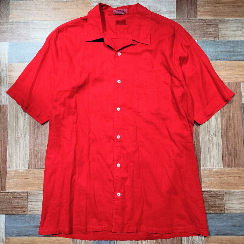 Vintage 半袖 開襟 シャツ レッド (メンズ古着)