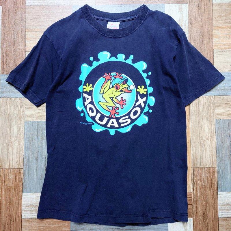 majestic AQUASOX フロッグ Tシャツ ネイビー (メンズ古着)