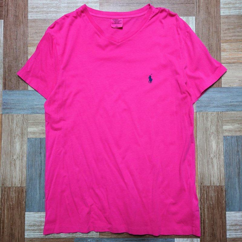 POLO RALPH LAUREN Vネック Tシャツ ピンク (メンズ古着)