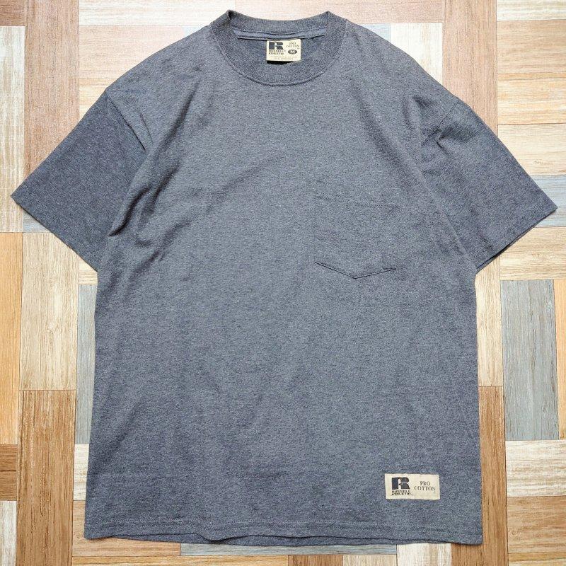 RUSSELL ポケット付き Tシャツ チャコールグレー (メンズ古着)
