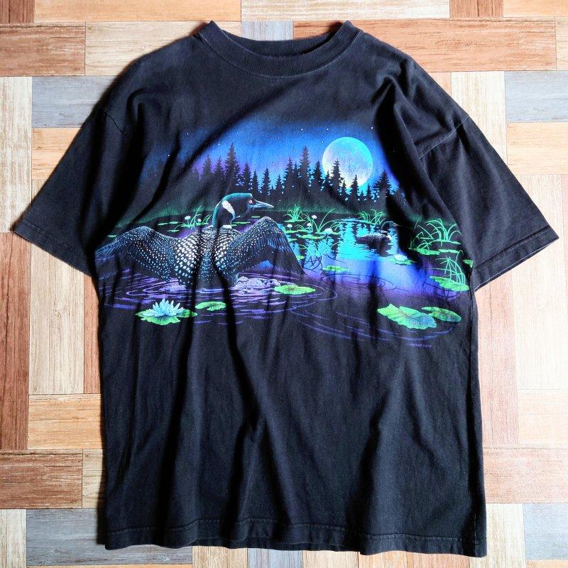Vintage ダックプリント Tシャツ ブラック (メンズ古着)