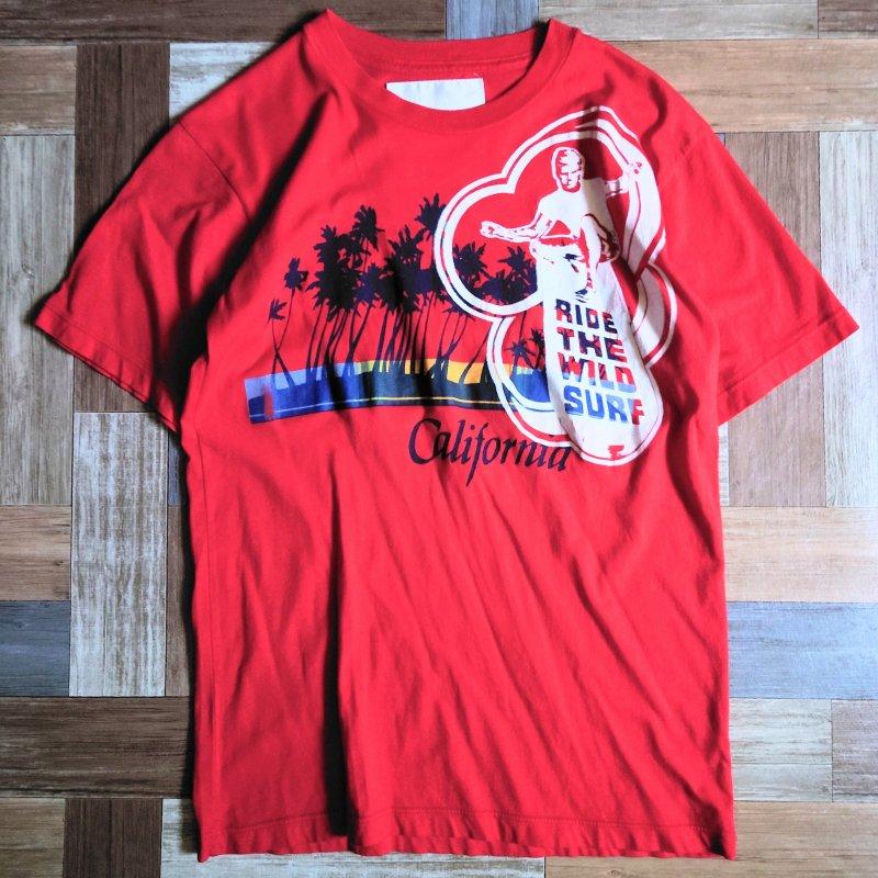 RBC USA製 サーフ Tシャツ レッド (メンズ古着)