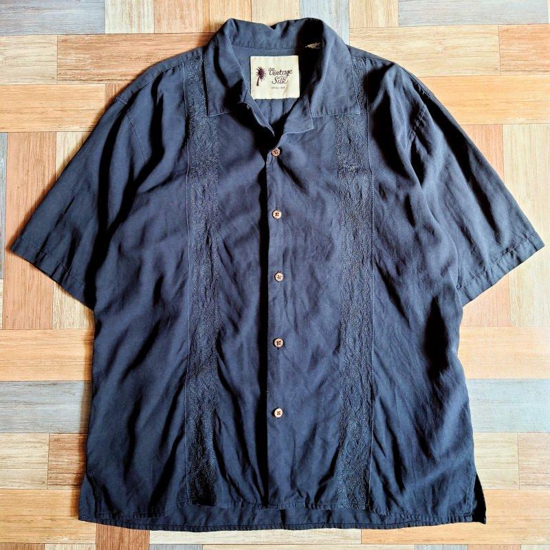 Vintage Silk 刺繍 開襟 シャツ ブラック (メンズ古着)