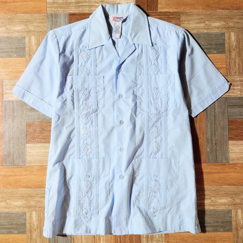 80~90's ROMANI キューバ シャツ サックスブルー (メンズ古着)