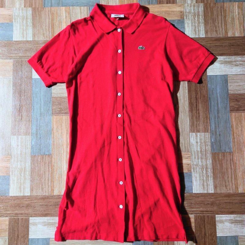 90's LACOSTE ポロシャツ ワンピース レッド (レディース古着)