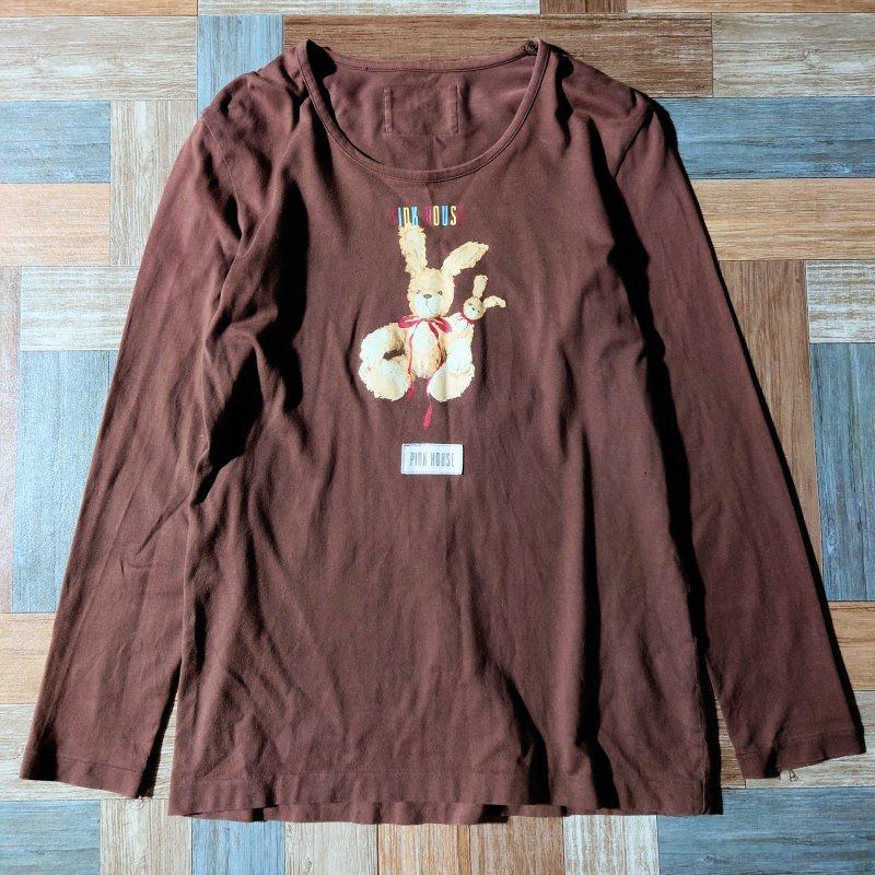90's PINK HOUSE 長袖 Tシャツ ブラウン (レディース古着)