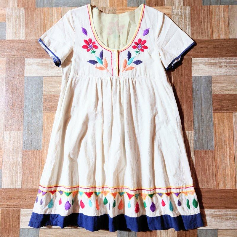 Vintage メキシカン ワンピース オフホワイト (レディース古着)