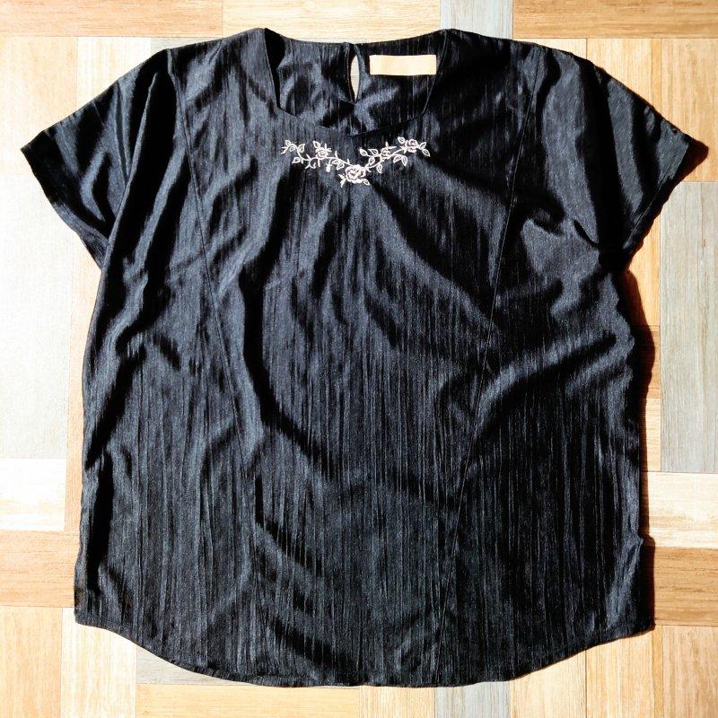 刺繍 ブラウス ブラック (レディース古着)