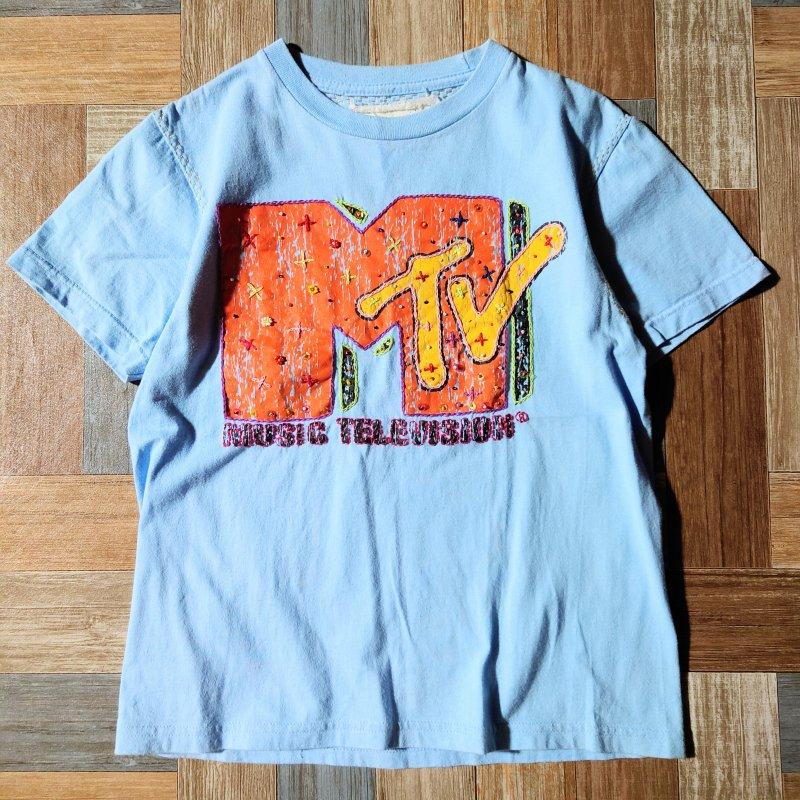 MTV リメイク Tシャツ ライトブルー (レディース古着)
