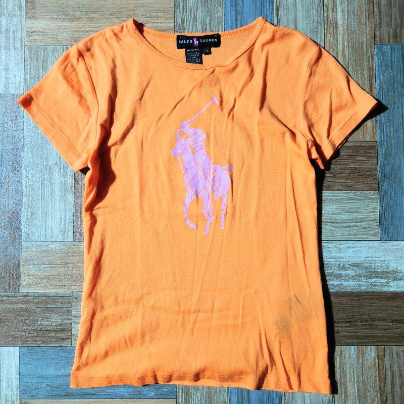 RALPH LAUREN ピンクポニー Tシャツ オレンジ (レディース古着)