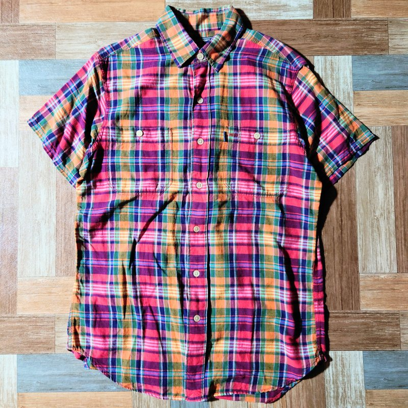 90's POLO SPORT 半袖 チェック シャツ (メンズ古着)