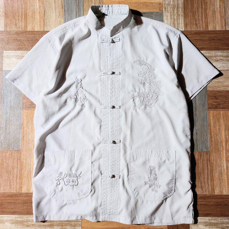 Vintage 半袖 チャイナ シャツ アイスグレー (メンズ古着)