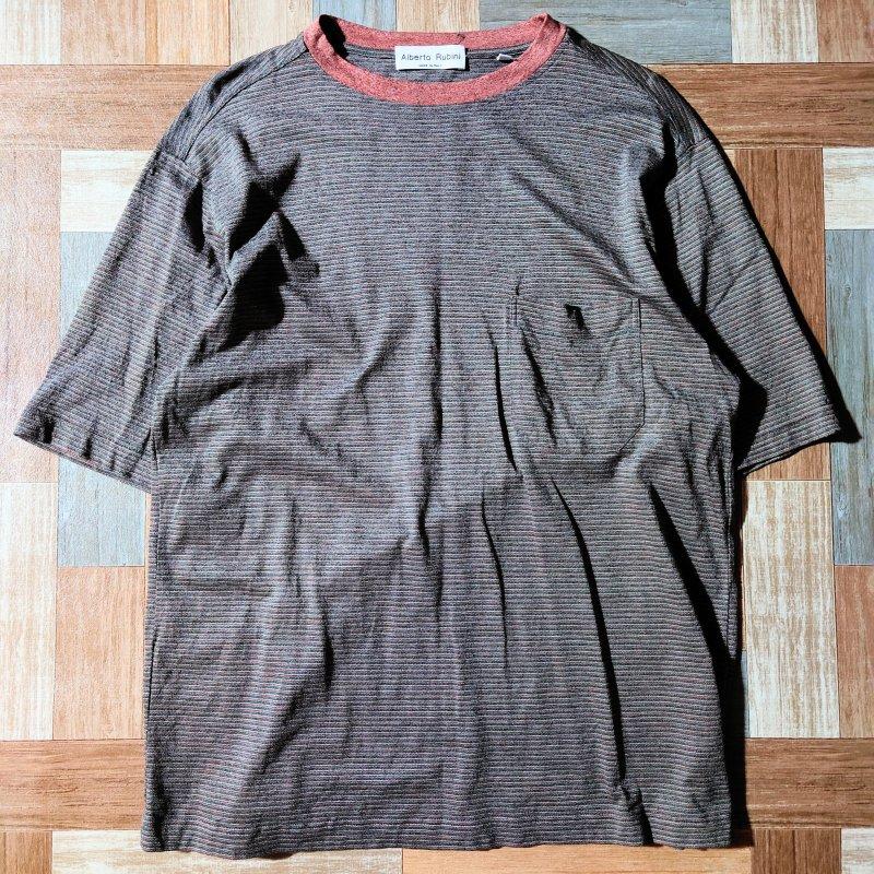 Alberto Rubini イタリア製 ボーダー ポケット Tシャツ (メンズ古着)