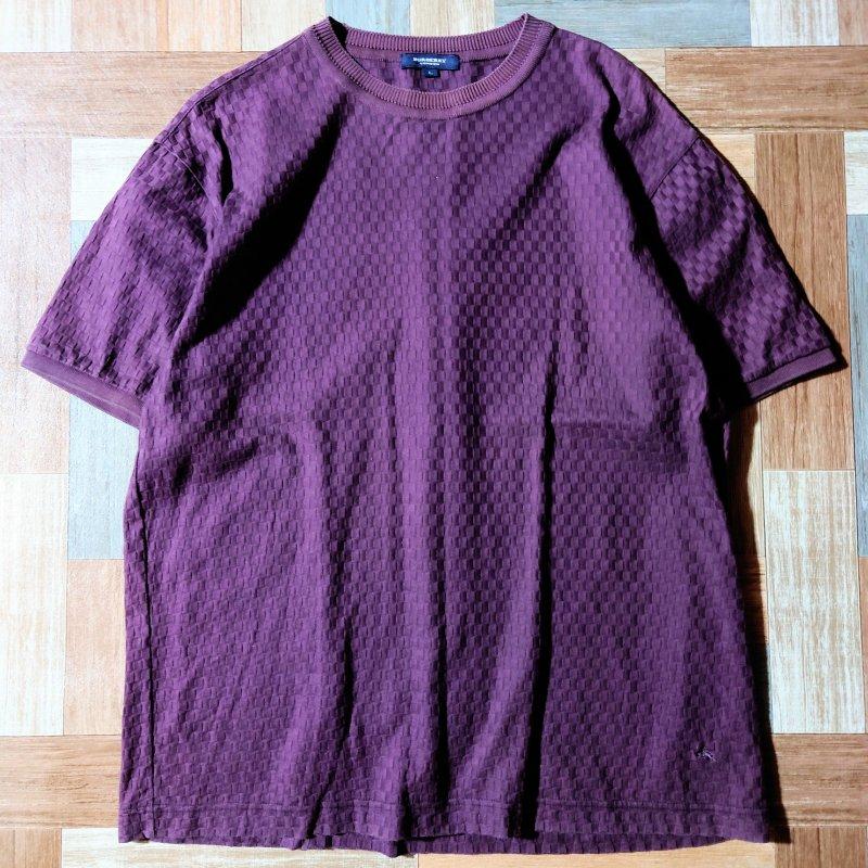 BURBERRY デザイン Tシャツ バーガンディー (メンズ古着)