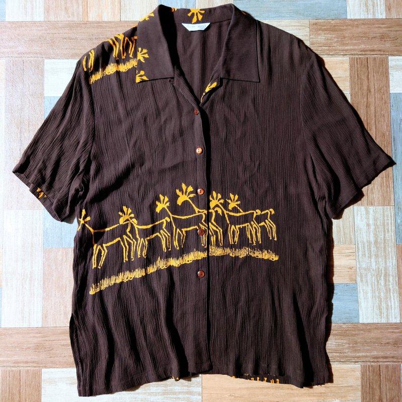 レーヨン 半袖 開襟 シャツ ブラウン (レディース古着)