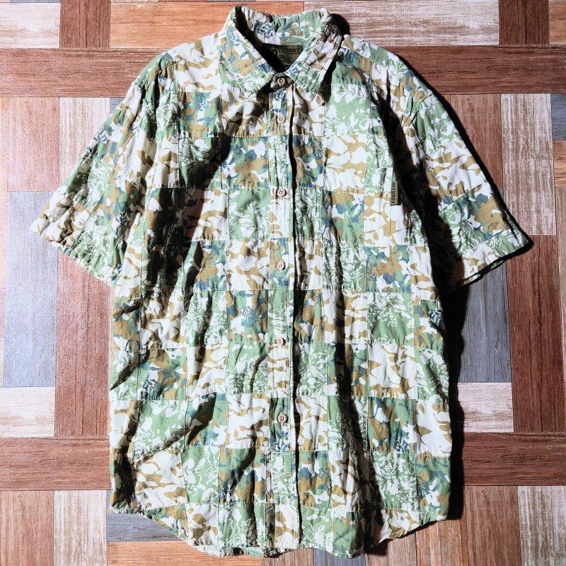 STUSSY フラワー パッチワーク シャツ (メンズ古着)