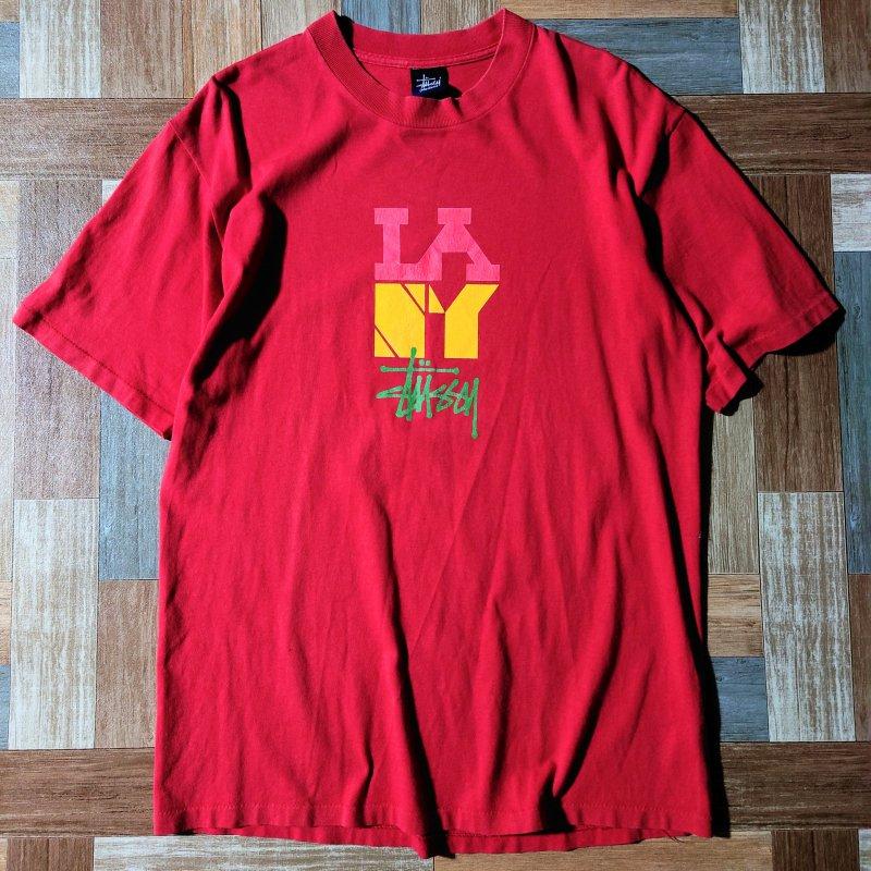 90's STUSSY ロゴ Tシャツ レッド (メンズ古着)