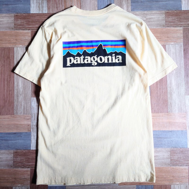 <img class='new_mark_img1' src='https://img.shop-pro.jp/img/new/icons15.gif' style='border:none;display:inline;margin:0px;padding:0px;width:auto;' />patagonia ロゴ Tシャツ クリーム (メンズ古着)