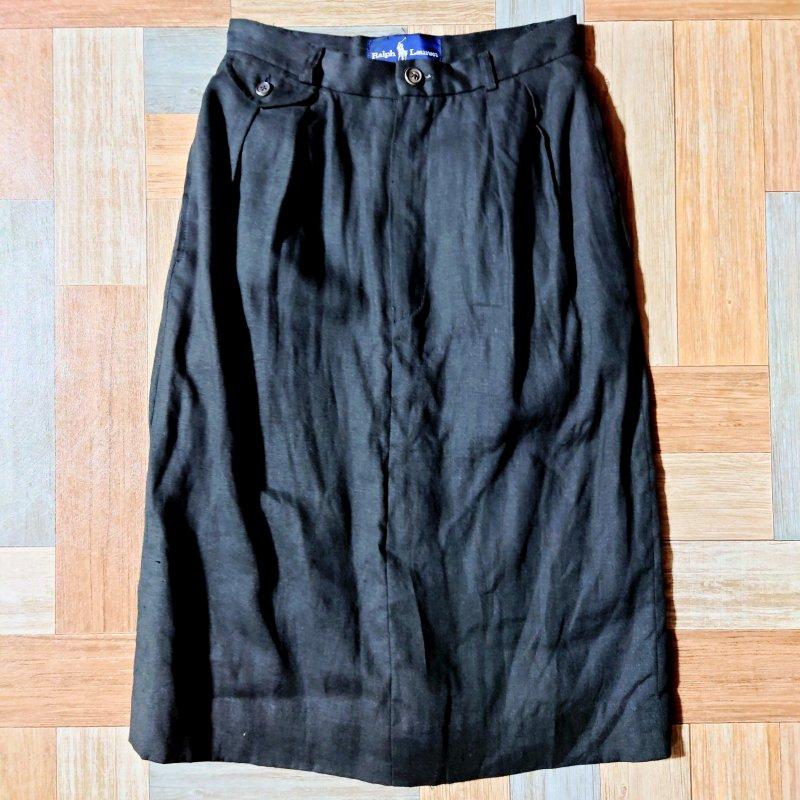 RALPH LAUREN リネン スカート ブラック (レディース古着)