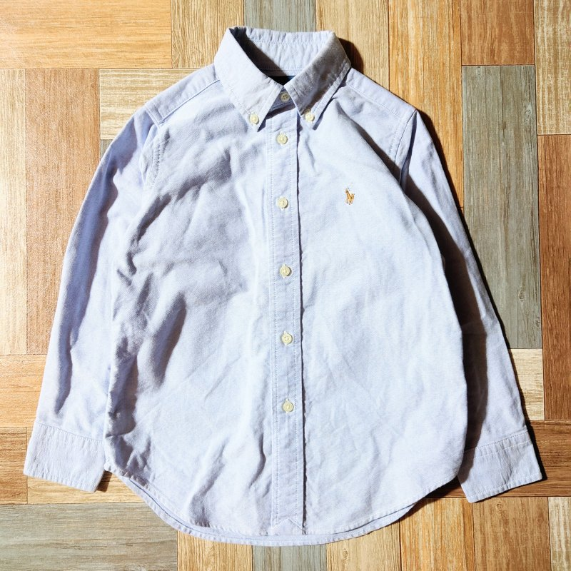 RALPH LAUREN ボタンダウン シャツ ブルー 110 (キッズ古着)