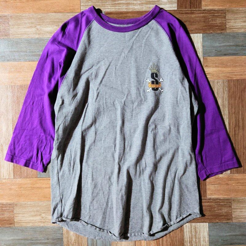 STUSSY ラグラン Tシャツ グレー×パープル (メンズ古着)