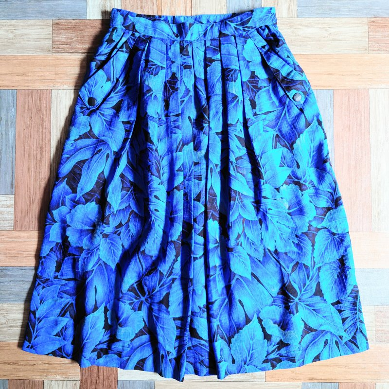 フラワー スカート ブルー (レディース古着)