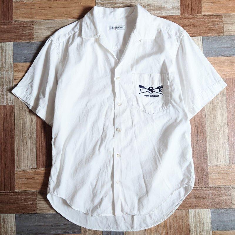 90's Calvin Klein Sport 半袖 開襟 シャツ ホワイト (メンズ古着)
