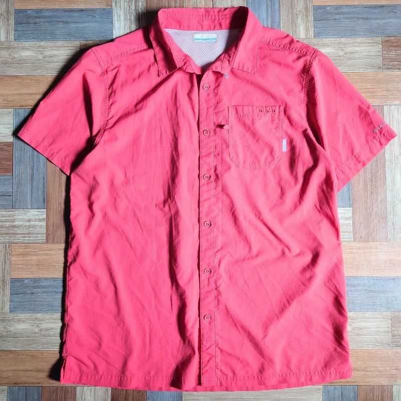 Columbia PFG 半袖 シャツ ピンク (メンズ古着)