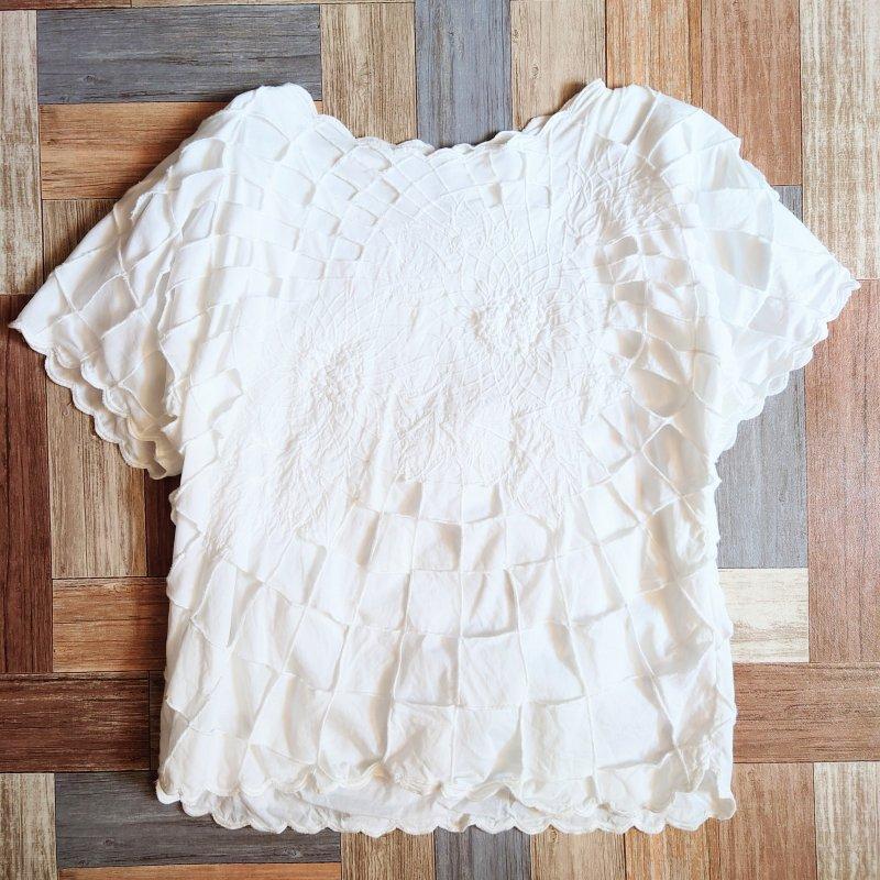 半袖 カットワーク ブラウス ホワイト (レディース古着)