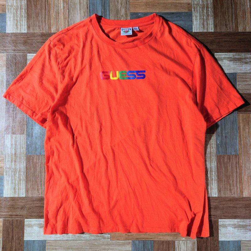 GUESS J.BALVIN ロゴ Tシャツ オレンジ (メンズ古着)