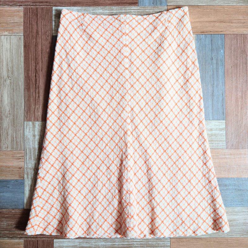 GERGHIO サマーニット スカート ホワイト×オレンジ (レディース古着)