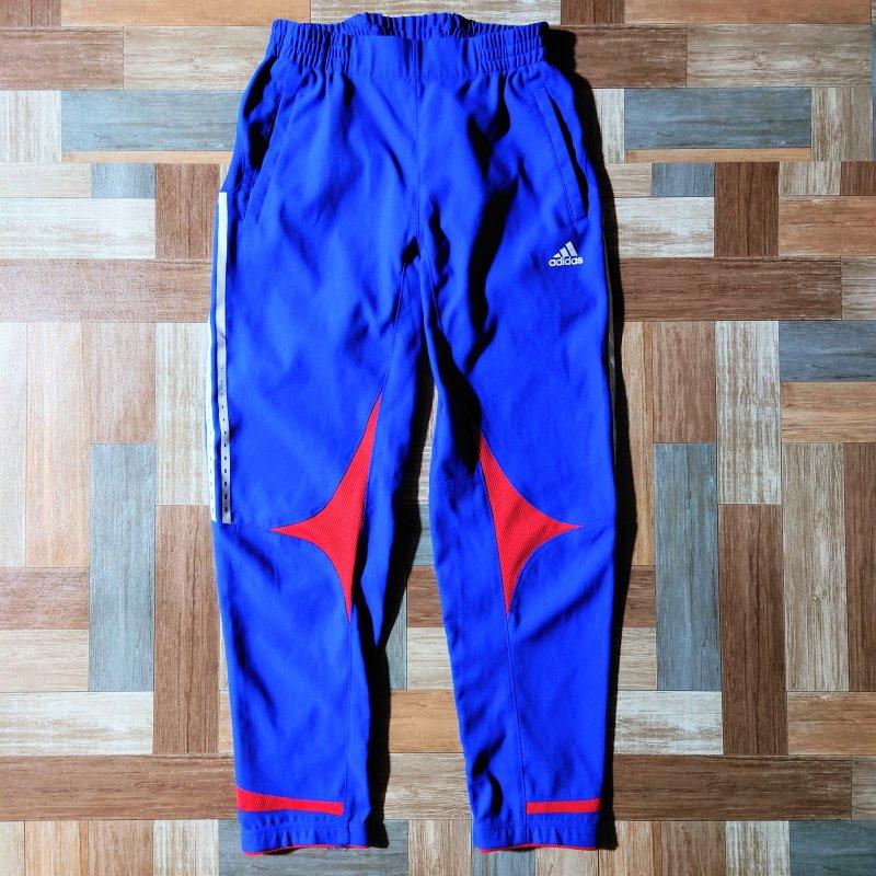 adidas ライン トラック パンツ ブルー (メンズ古着)