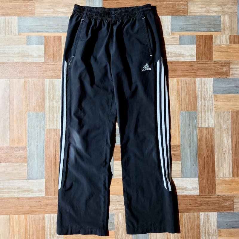 adidas ライン トラック パンツ ブラック (メンズ古着)