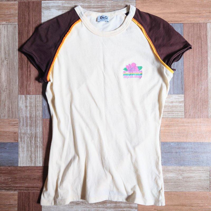 D&G イタリア製 ラグラン Tシャツ クリーム×ブラウン (レディース古着)